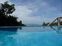 Blick aus dem Pool