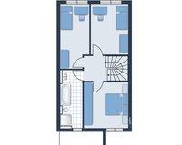 Obergeschoss (Bei diesem Grundriss handelt es sich um eine  spiegelbildliche Darstellung der tatsächlichen Aufteilung.)