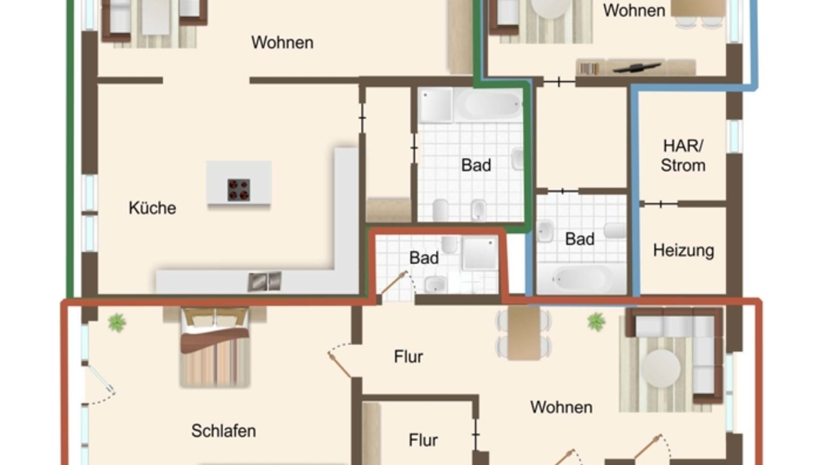 Grundriss Erdgeschoss mit Aufteiltung