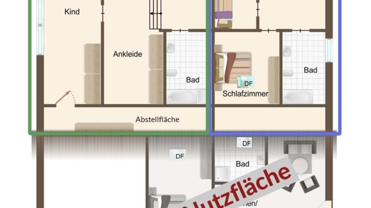 Grundriss Obergeschoss mit Aufteilung