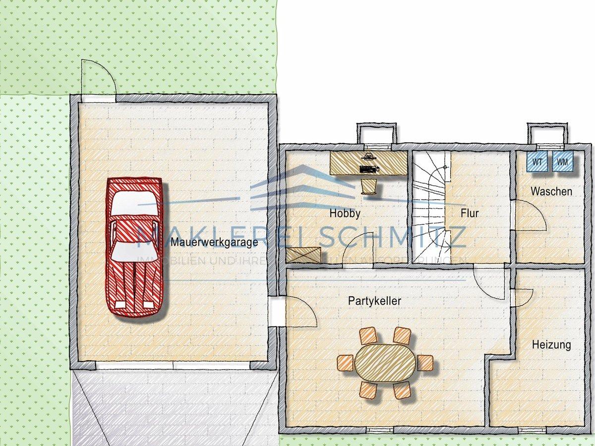 Grundriss Souterrain + Garage